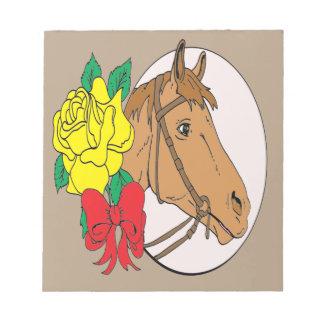Pferd und Rose Notizblock