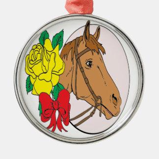 Pferd und Rose Rundes Silberfarbenes Ornament