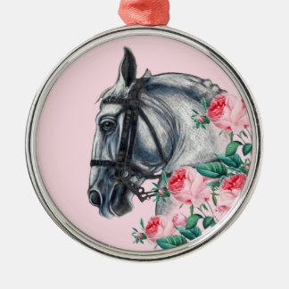 Pferd und Rosen Rundes Silberfarbenes Ornament