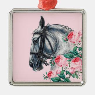 Pferd und Rosen Silbernes Ornament