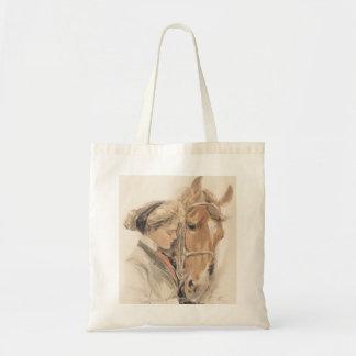 Pferd und schöne Dame Vintage Tote Bag Budget Stoffbeutel