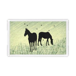 Pferde auf dem Gebiet Acryl Tablett