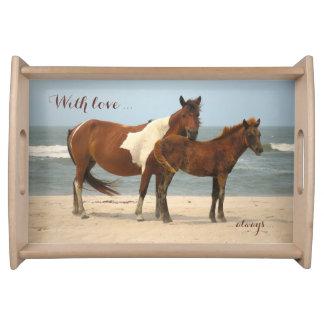 Pferde auf dem Strand-Serviertablett Tablett