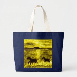 Pferde auf einer goldenen Küste Jumbo Stoffbeutel