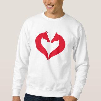 Pferde der Liebe I, rotes Herz mit Pferdekopf Sweatshirt