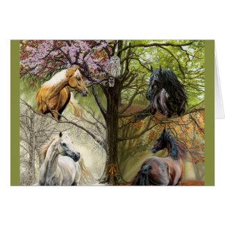 Pferde der vier Jahreszeit-Feiertags-Gruß-Karte Karte