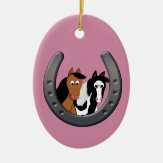 Pferde im Hufeisen Keramik Ornament