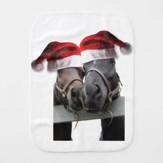 Pferde in Weihnachtsmann-Hüten Baby Spucktuch