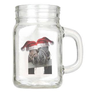 Pferde in Weihnachtsmann-Hüten Einmachglas