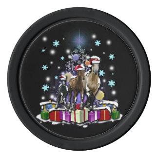 Pferde mit Weihnachtsarten Poker Chip Set