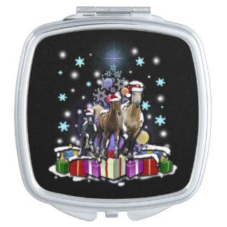 Pferde mit Weihnachtsarten Schminkspiegel