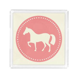 Pferde-/Pony-Silhouettereiterbehälter (Rosa) Acryl Tablett