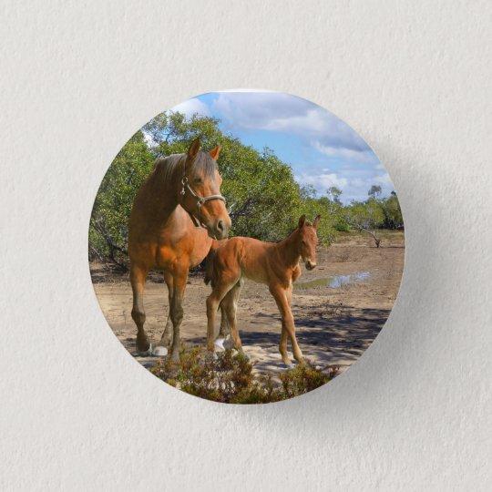 Pferde Runder Button 3,2 Cm