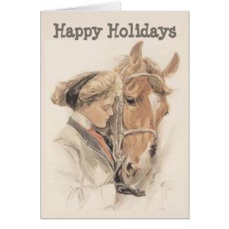 Pferde-und Damen-Vintage Weihnachtskarte Grußkarte
