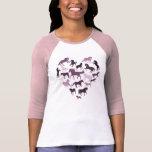 Pferde-und Herz-T-Shirtrosa T-shirt
