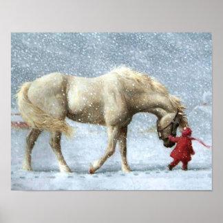 Pferde-und Mädchen-Winter-Plakat Poster