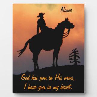 Pferde-und Reiter-Sonnenuntergang-Silhouette Fotoplatte