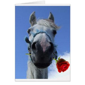 Pferde- und Rosen-Liebethema Karte