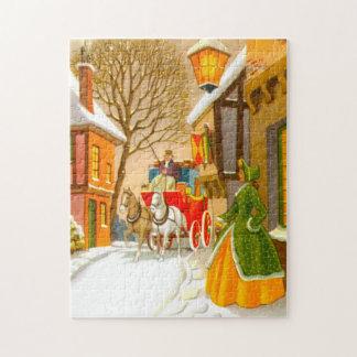 Pferde und Wagen im Schnee Puzzle