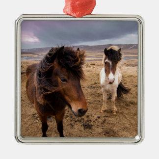 Pferde von Island Silbernes Ornament