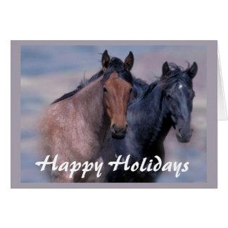 Pferde wild und schöne Weihnachtskarte Grußkarte