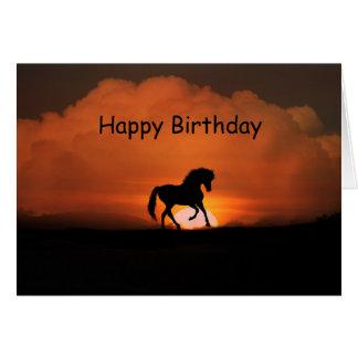 Pferdealles Gute zum Geburtstag im Sonnenuntergang Karte