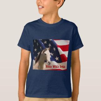 Pferdeamerikanische Flagge scherzt T - Shirt
