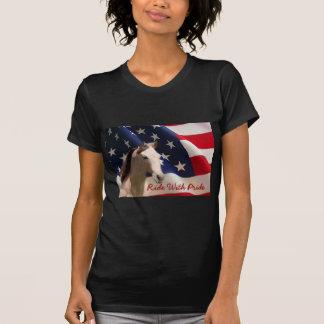 Pferdeamerikanische Flaggen-Damen-T - Shirt
