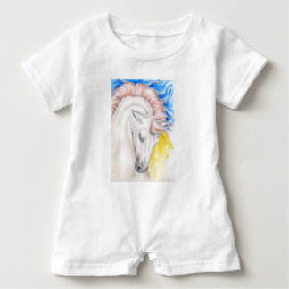 PferdeAquarell-Kunst Baby Strampler
