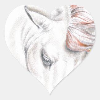 PferdeAquarell-Kunst Herz-Aufkleber