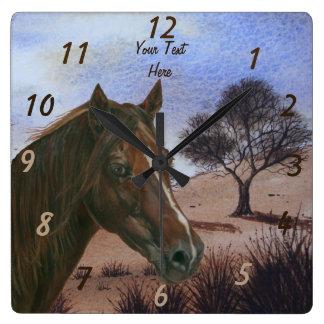 Pferdeartige Kunstmalerei des Quadratische Wanduhr