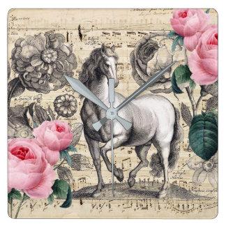 pferdeartige Vintage Musik Quadratische Wanduhr