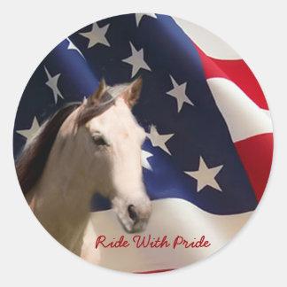Pferdeaufkleber-amerikanische Flagge Runder Aufkleber
