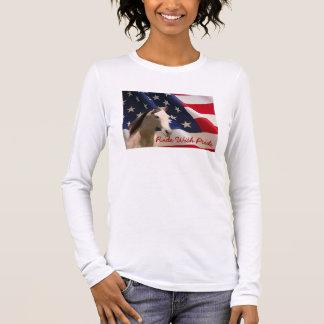 Pferdedamen-langer Hülsen-T - Shirt-amerikanische Langarm T-Shirt