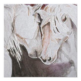 Pferdeeinladungs-Aquarell-Art, Pfirsich Quadratische 13,3 Cm Einladungskarte