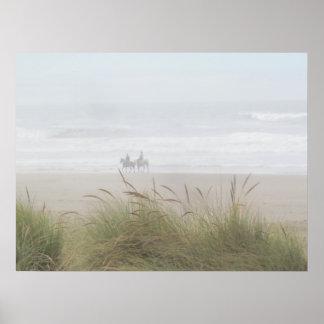 Pferdefahrt auf das Strand-Plakat Poster