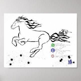 Pferdegaloppieren verlassen (bw) [Plakat] Poster
