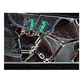 Pferdehals-Biesen-Neonglühen abstrakt Postkarte