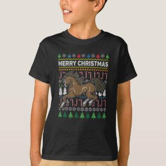 Pferdehässliche Weihnachtsstrickjacke-Tier-Reihe T-Shirt