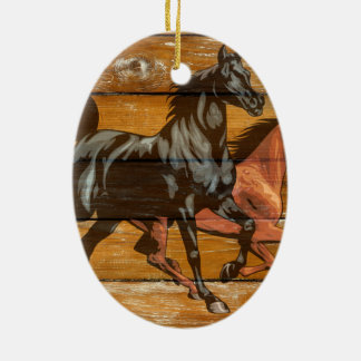 Pferdehufeisen-Scheunen-Holz-Cowboy Keramik Ornament