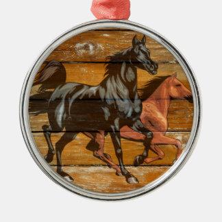 Pferdehufeisen-Scheunen-Holz-Cowboy Silbernes Ornament