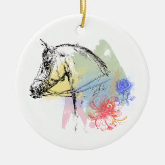 Pferdekopf-Aquarelle Rundes Keramik Ornament