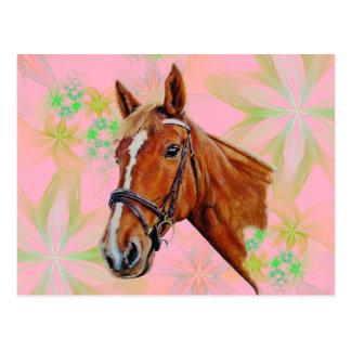 Pferdekopf auf Blumenhintergrund, Postkarte
