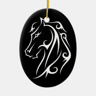 Pferdekopf-Verzierungs-Schwarzes Ovales Keramik Ornament