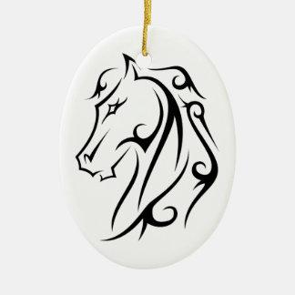 Pferdekopf-Verzierungs-weißes Schwarzes Keramik Ornament