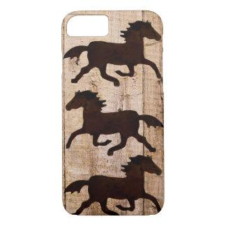 Pferdeliebhaber-Cowboy rustikaler hölzerner iPhone iPhone 8/7 Hülle