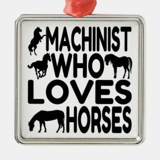 Pferdeliebhaber-Maschinist Silbernes Ornament