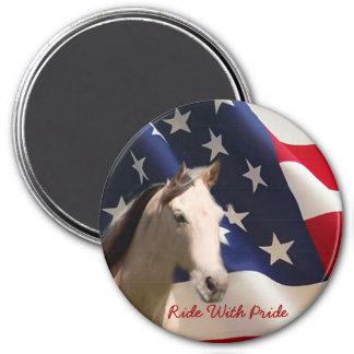 Pferdemagnet-amerikanische Flagge Runder Magnet 7,6 Cm