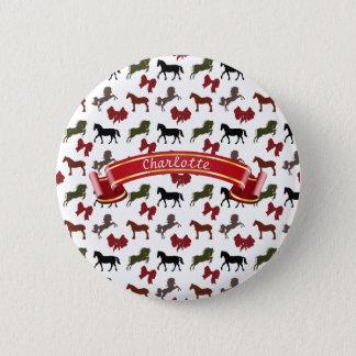 Pferdemuster mit den Bögen kundenspezifisch Runder Button 5,7 Cm