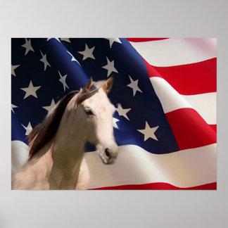 Pferdeplakat-amerikanische Flagge Poster